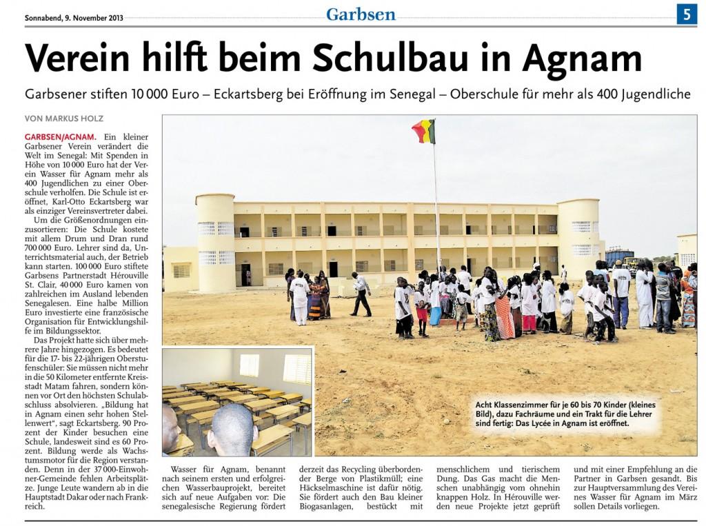 Bericht über die Eröffnung der Schule - Leine Zeitung 09.11.2013